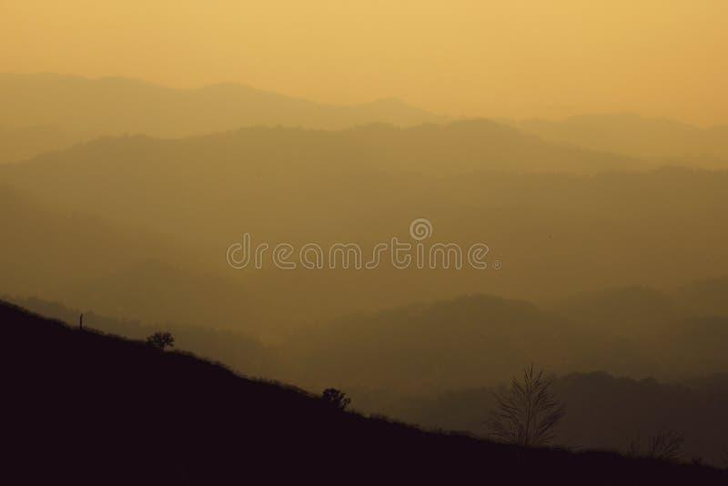 Puesta del sol fantástica del paisaje en el valle de niebla del bosque del otoño, fondo místico del valle fotografía de archivo libre de regalías