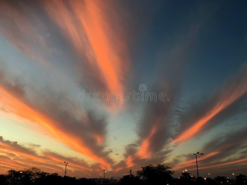 Puesta del sol fantástico hermosa fotos de archivo