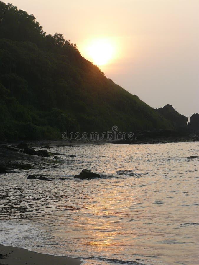 Puesta del sol Goa 1 imagen de archivo