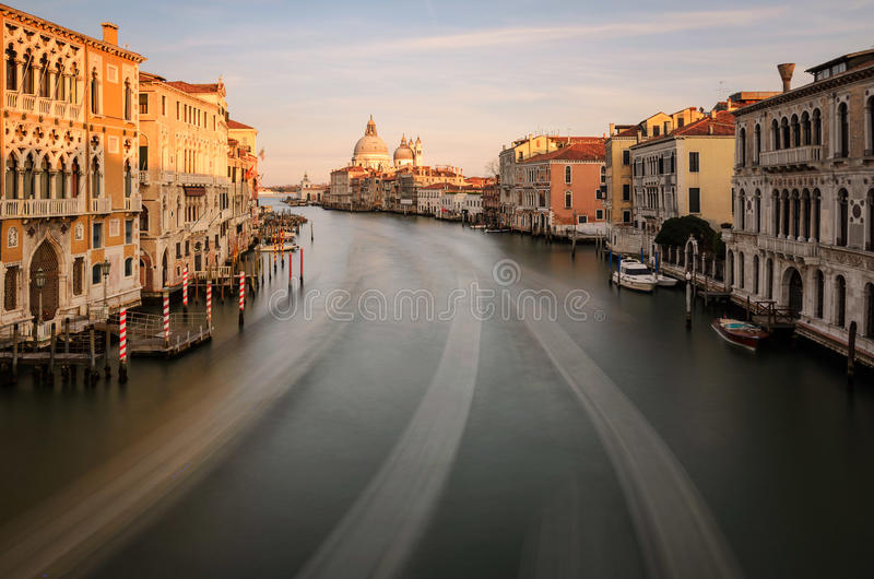 Puesta del sol Grand Canal Venecia imagenes de archivo