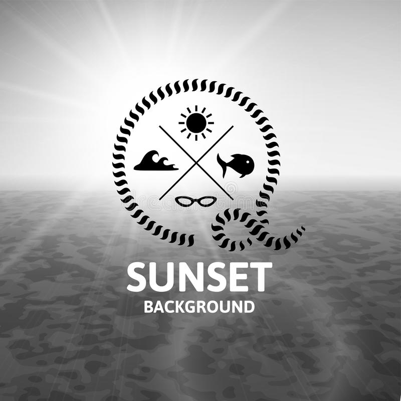 Puesta del sol gris con la superficie negra del mar del agua libre illustration