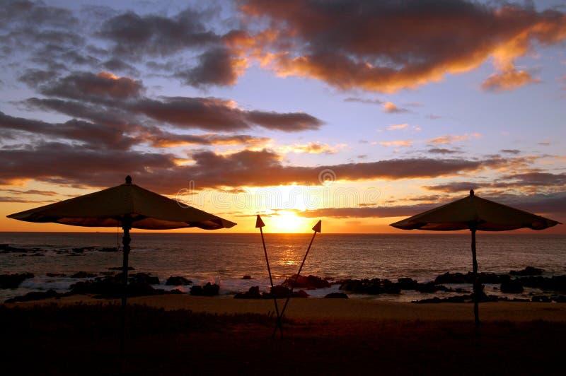 Puesta del sol hawaiana de Molokai imagen de archivo libre de regalías