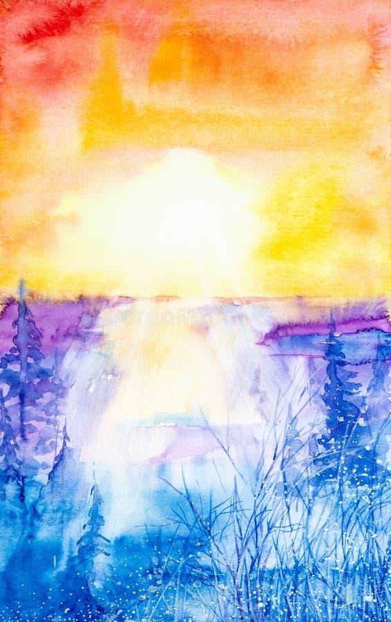 Puesta del sol hermosa, brillante, roja sobre el ejemplo de la acuarela del bosque del invierno ilustración del vector