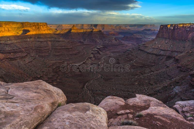 Puesta del sol hermosa cerca del punto Canyonlands Utah de Marlboro imagen de archivo libre de regalías
