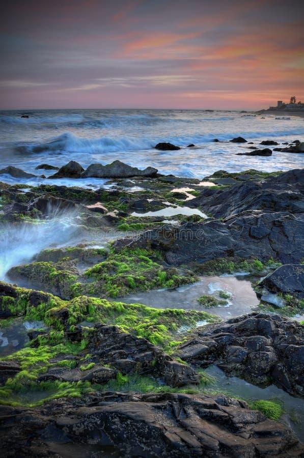 Puesta del sol hermosa Coasta del Sol fotografía de archivo libre de regalías