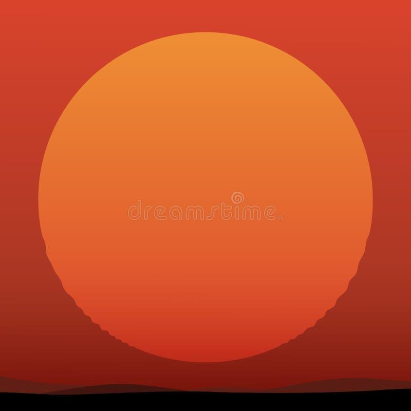 Puesta del sol hermosa con el sol enorme stock de ilustración
