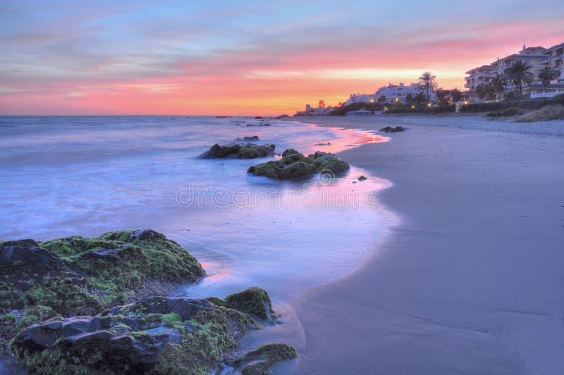Puesta del sol hermosa de Costa del Sol foto de archivo libre de regalías
