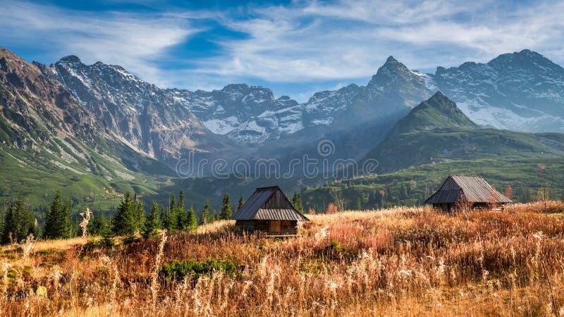 Puesta del sol hermosa en el valle de la montaña, Tatras en otoño fotografía de archivo