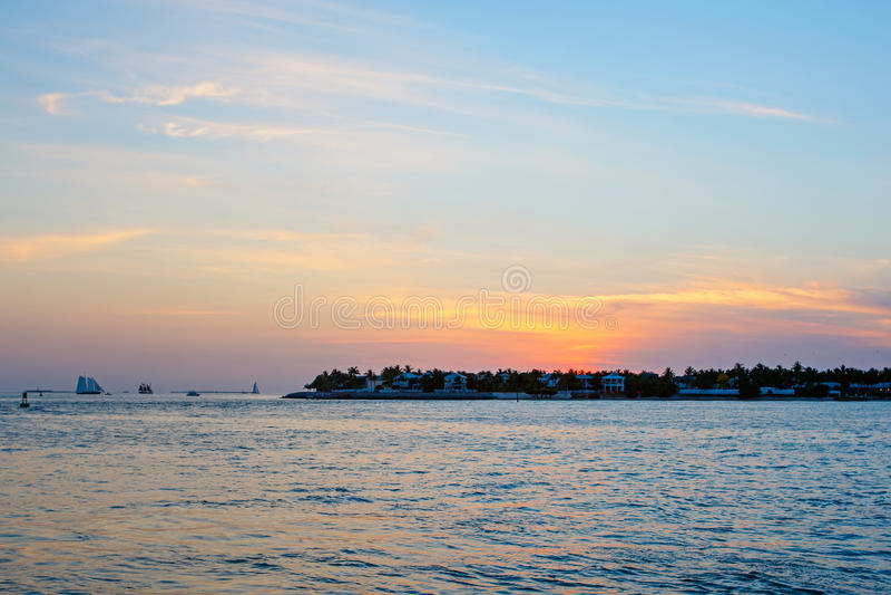 Puesta del sol hermosa en Key West, la Florida, los E.E.U.U. fotos de archivo