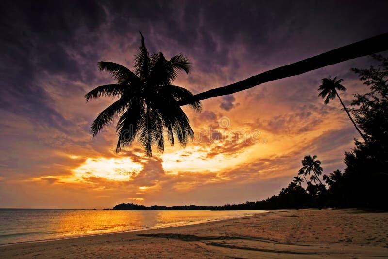 Puesta del sol hermosa en la isla de Bintan foto de archivo
