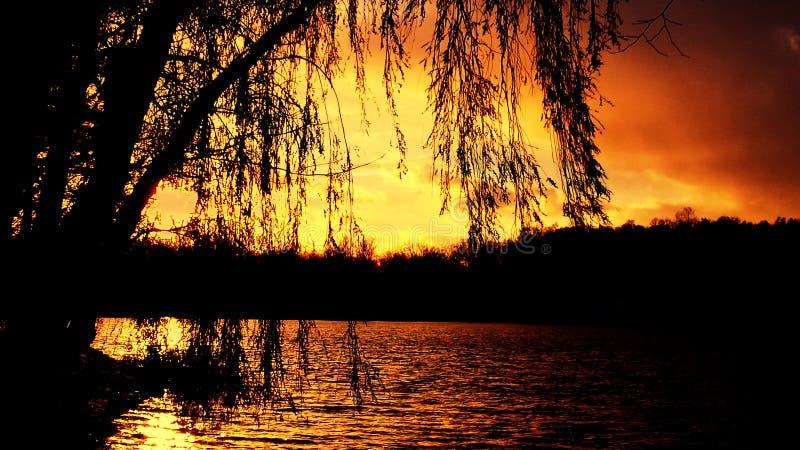 Puesta del sol hermosa en Lagrange Indiana fotos de archivo