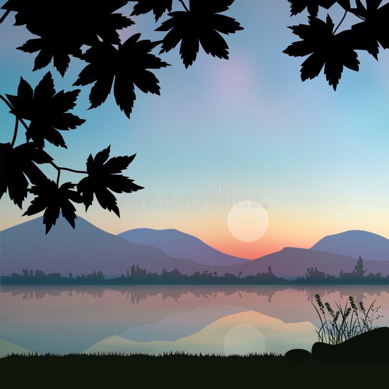 Puesta del sol hermosa, paisaje de los ejemplos del vector ilustración del vector