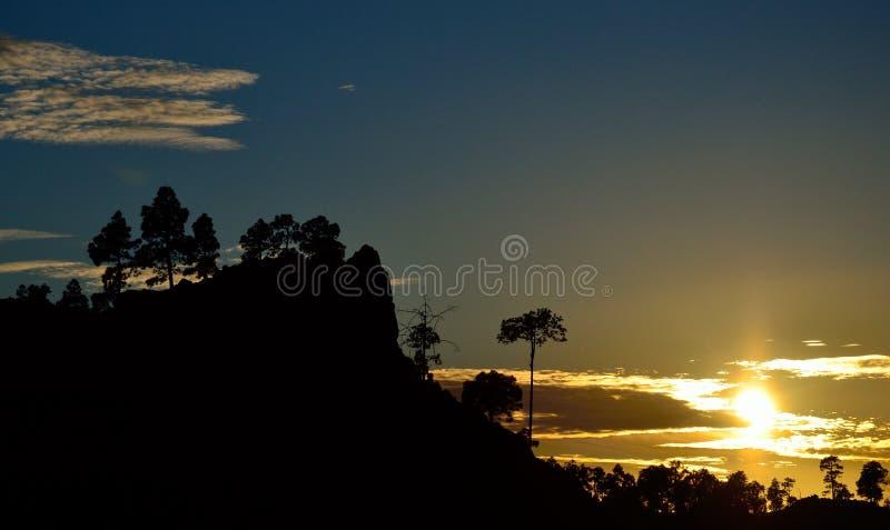 Puesta del sol hermosa, Pilancones, Gran Canaria foto de archivo