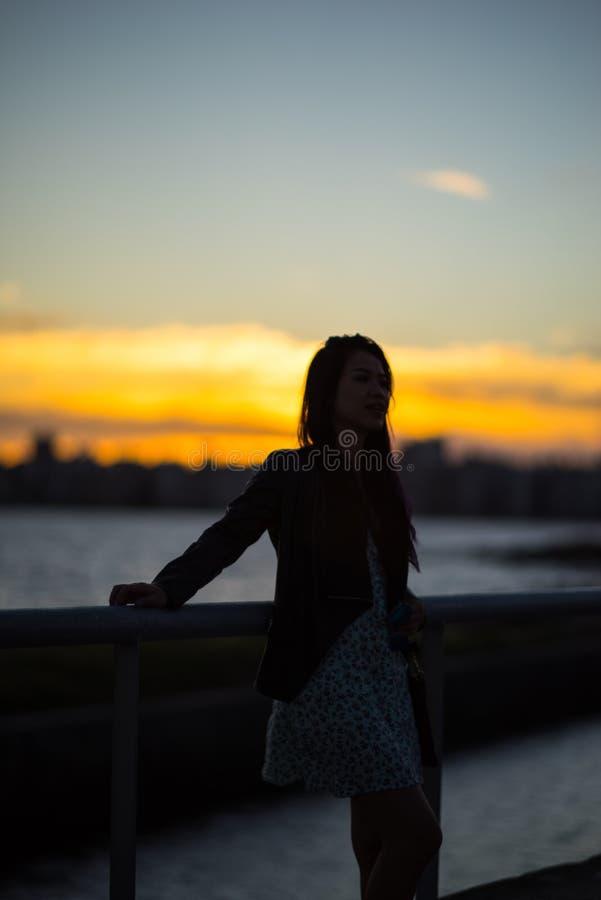Puesta del sol hermosa sobre el paseo marítimo y la playa de Montevideo, Uruguay imágenes de archivo libres de regalías