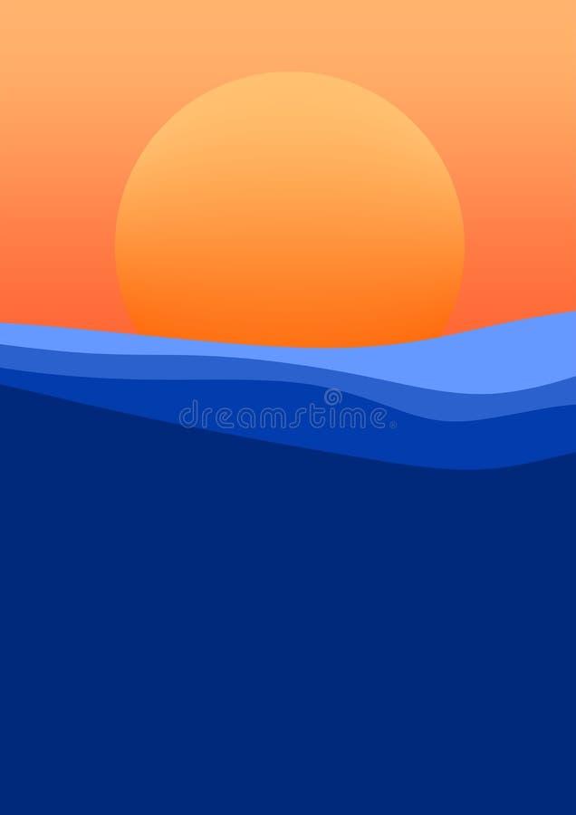 Puesta del sol hermosa sobre la superficie del mar con las ondas del cielo anaranjado y del sol anaranjado en el horizonte stock de ilustración