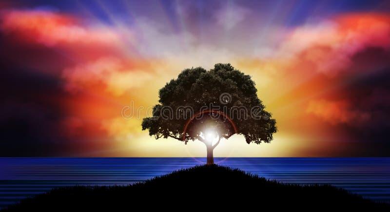 Puesta del sol hermosa sobre paisaje de la naturaleza de la silueta del árbol del agua ilustración del vector