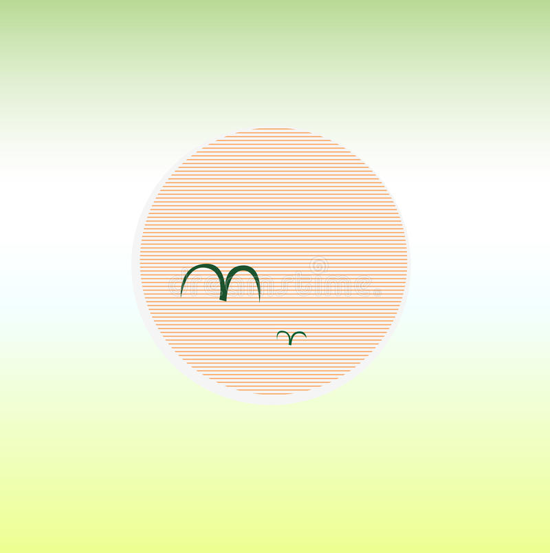 Puesta del sol hermosa del verde de la playa del verano con el sol libre illustration