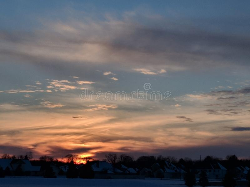 Puesta del sol del invierno imágenes de archivo libres de regalías
