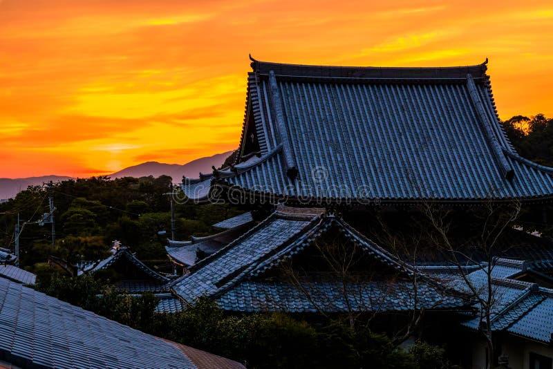 Puesta del sol japonesa foto de archivo libre de regalías