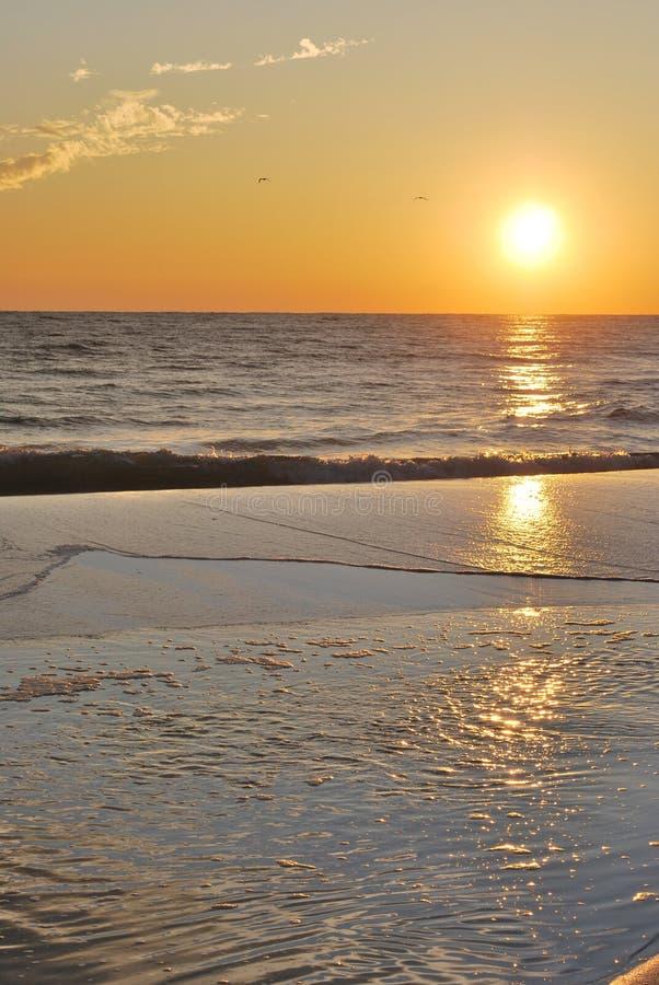 Puesta del sol la Florida Pan Handle de la playa fotos de archivo libres de regalías