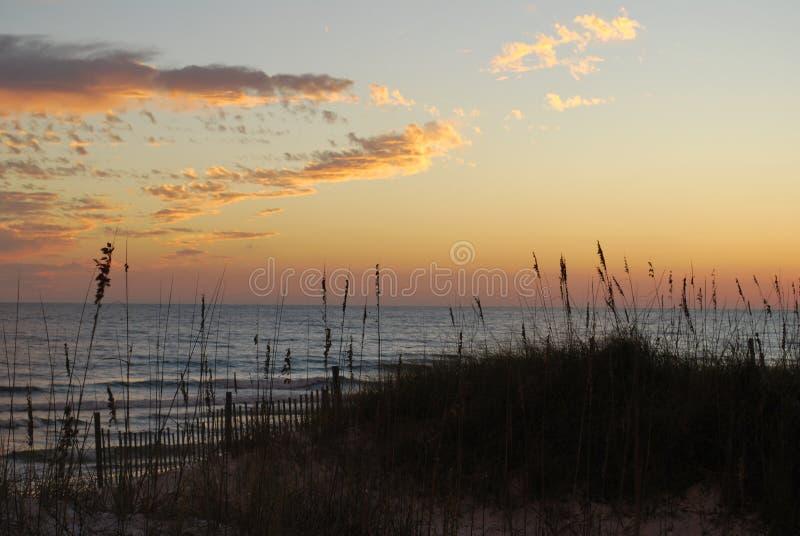 Puesta del sol la Florida Pan Handle de la playa imagen de archivo libre de regalías