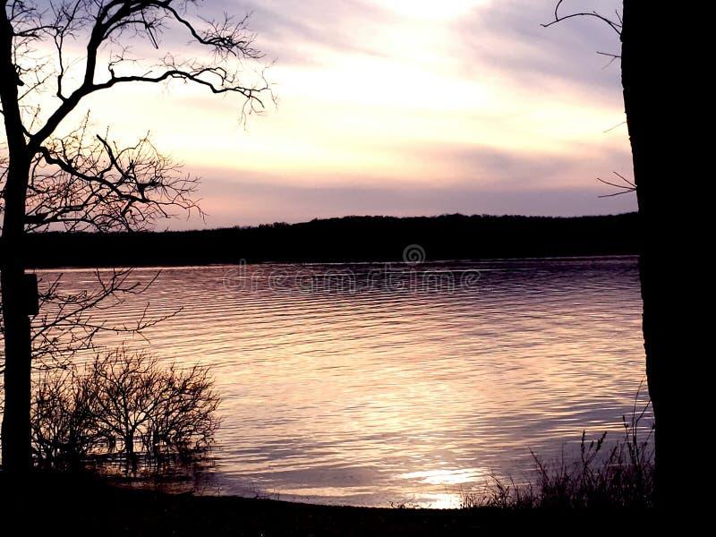 Puesta del sol del lago missouri fotografía de archivo libre de regalías