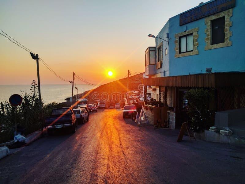 Puesta del sol Malta fotos de archivo