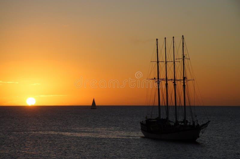 Puesta del sol marítima foto de archivo