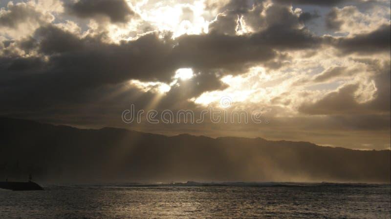 Puesta del sol melancólica Hawaii fotografía de archivo libre de regalías