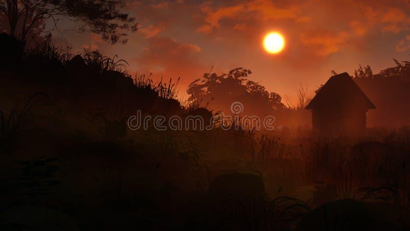 Download Puesta Del Sol Misteriosa Del Paisaje Stock de ilustración - Ilustración de fondo, nubes: 64202246