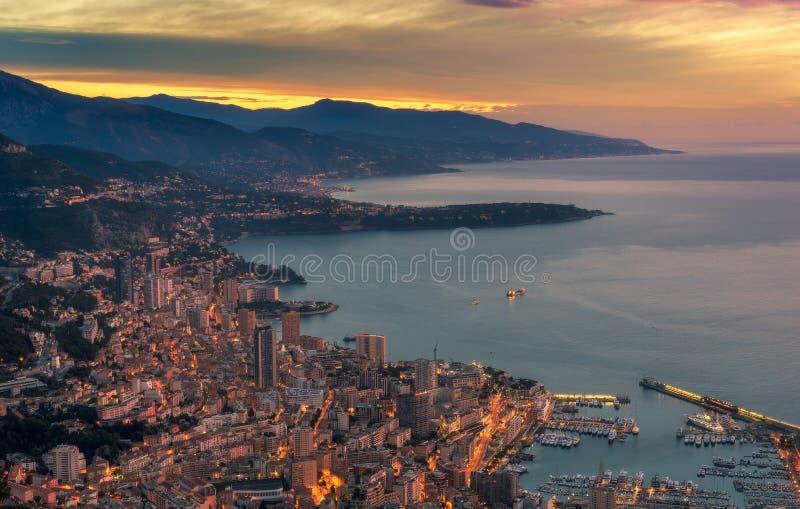 Puesta del sol Monte Carlo Mónaco fotos de archivo