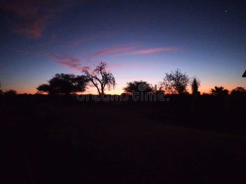 Puesta del sol namibiana foto de archivo libre de regalías