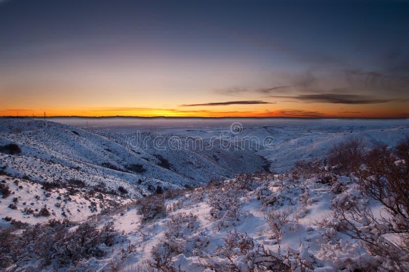 Puesta del sol Nevado, identificación de Boise imagenes de archivo