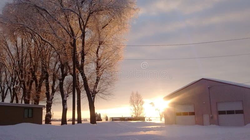 Puesta del sol nevosa central de Oregon fotos de archivo libres de regalías