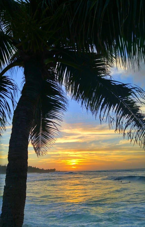 Puesta del sol del norte de Hawaii de la orilla imagen de archivo