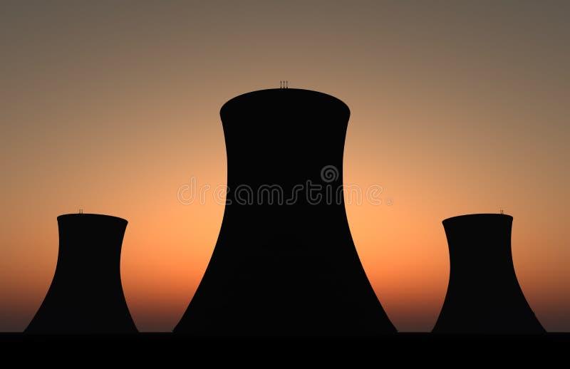 Puesta del sol nuclear foto de archivo libre de regalías
