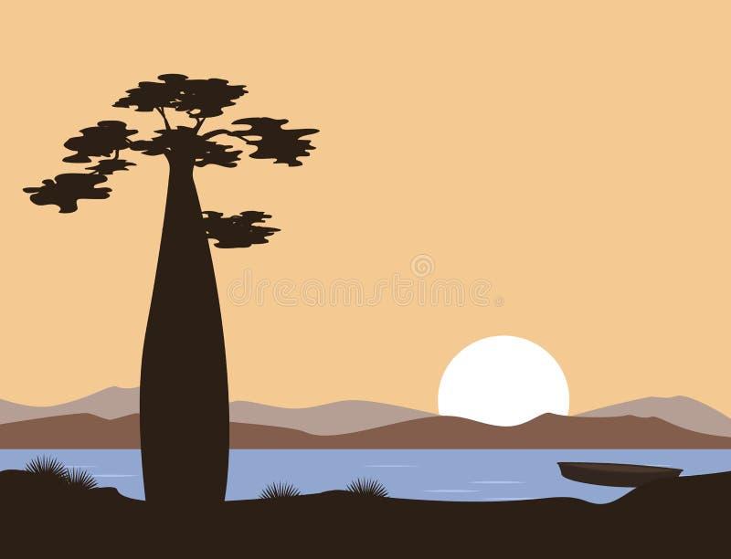 Puesta del sol o salida del sol en África Baobab y el lago Paisaje del vector El ejemplo se puede utilizar en los folletos, posta stock de ilustración