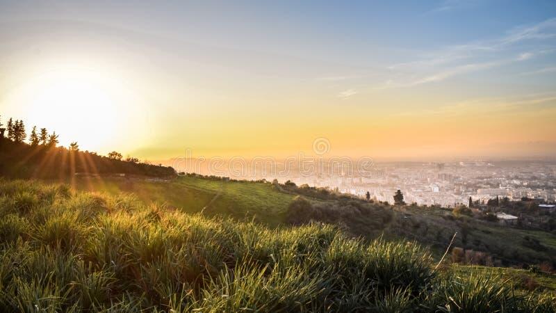 Puesta del sol del paisaje de Argelia foto de archivo