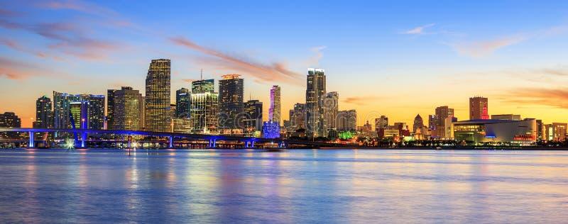 Puesta del sol panorámica, Miami imagen de archivo libre de regalías