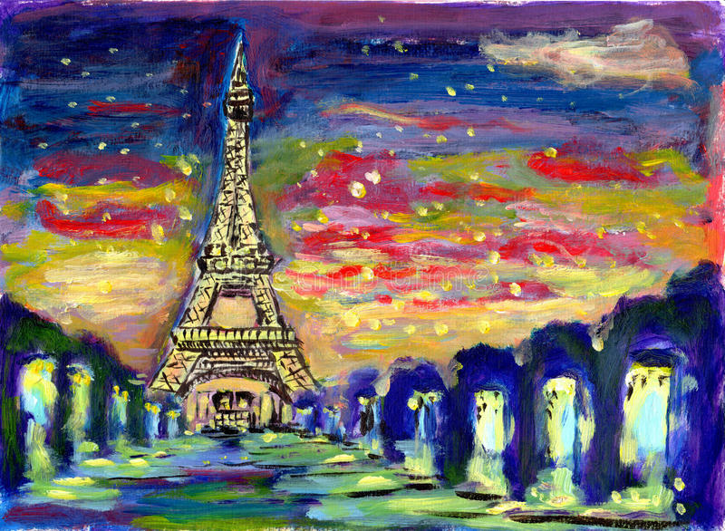 Puesta del sol París de la pintura al óleo ilustración del vector