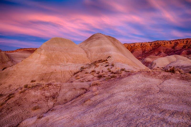 Puesta del sol pintada del desierto fotos de archivo libres de regalías