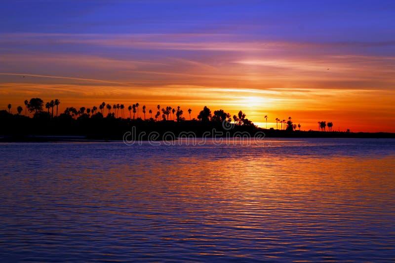 Puesta del sol, playa del océano, San Diego, California fotografía de archivo libre de regalías