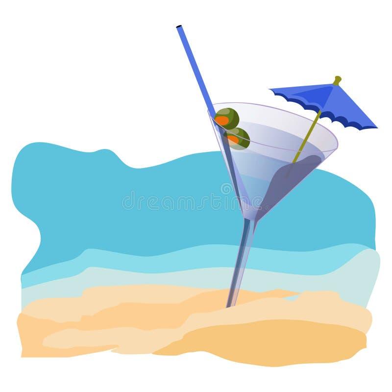 Puesta del sol, playa, verano, mar, sol, arena, cóctel fotografía de archivo libre de regalías