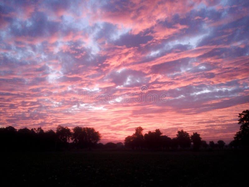 Puesta del sol por la tarde en el pueblo Shajapur del jaloda fotografía de archivo libre de regalías