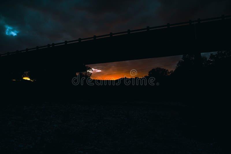 Puesta del sol del puente imagen de archivo
