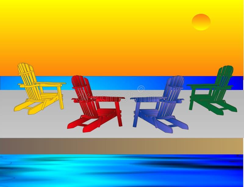 Puesta del sol que calma sobre el agua stock de ilustración