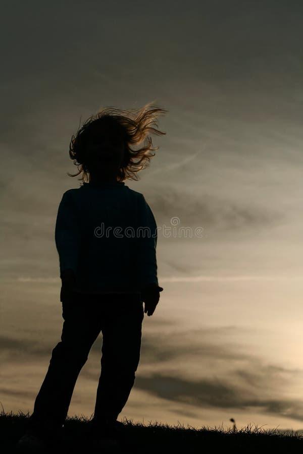Puesta del sol que sopla del pelo de la niña imagen de archivo libre de regalías