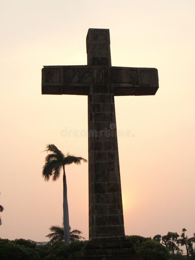 Puesta del sol religiosa foto de archivo libre de regalías