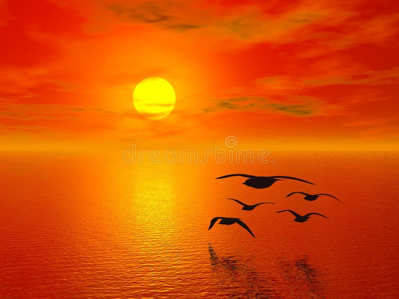 Puesta del sol roja imagen de archivo libre de regalías