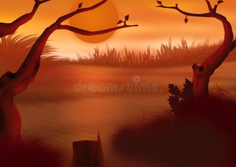 Puesta del sol roja ilustración del vector